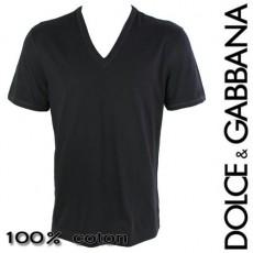 DOLCE&GABBANA - T-SHIRT HOMME COL EN V NOIR