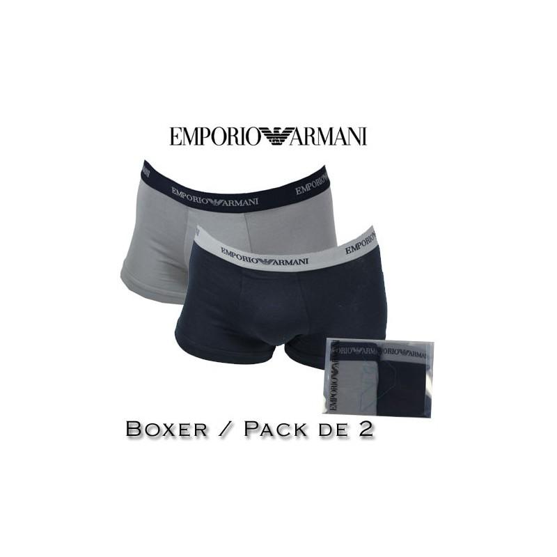 armani boxer homme bi pack navy gris 13742. Black Bedroom Furniture Sets. Home Design Ideas