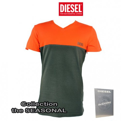 DIESEL - T-SHIRT COTON UMTEE-MICHAEL  KAKI/ORANGE