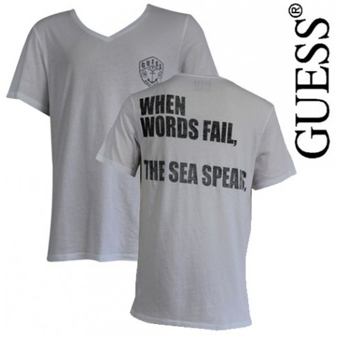 GUESS - T SHIRT ROCK SAILOR BLANC COL EN V