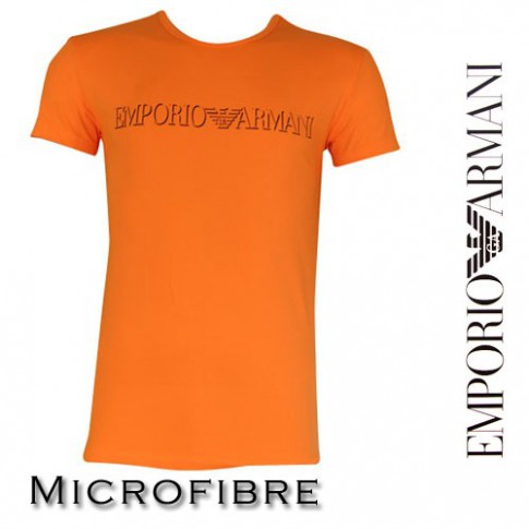 ARMANI - T-SHIRT MICROFIBRE COL ROND ORANGE FLUO
