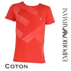 ARMANI - T-SHIRT LARGE LOGO EA COL ROND ROUGE