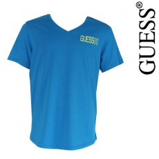 GUESS - T SHIRT PLAYFUL TURQUOISE COL EN V