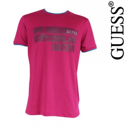 GUESS - T SHIRT EESSENTIAL RASPERRY WINE COL ROND