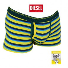 DIESEL - BOXER COTON A RAYURES FINES  JAUNE / TURQUOISE / VERT