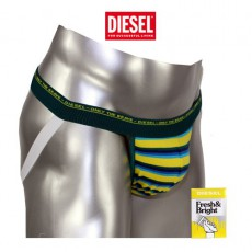 DIESEL - JOCK STRAP COTON A RAYURES FINES  JAUNE / TURQUOISE / VERT