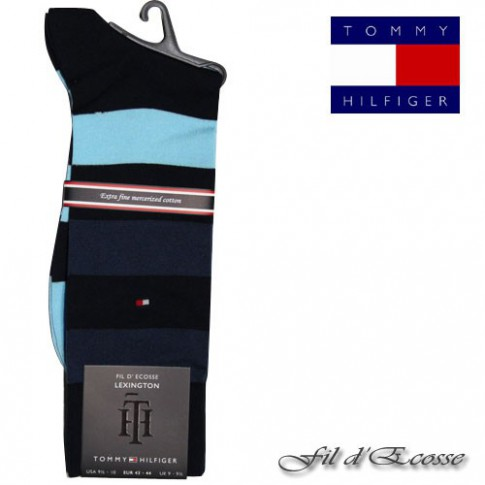 TOMMY - CHAUSSETTE FIL D'ECOSSE TOMMY HILFIGER RAYE MARINE